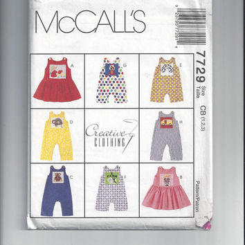 McCall's 7729 Pattern for Todders' Jumper, Jumpsuit, & Romper, Creative Clothing, Size 4-5-6, from 1998, FACTORY FOLDED, UNCUT