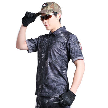 Summer Camouflage Outdoors T Shirt Men Army Combat Military Uniform Tactical T-Shirt Quick Dry Camo Hunt Clothing Tees
