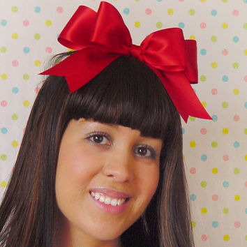 Red Hair bow HEADBAND Red Bow Red Ribbon Bow Double layer princess Gothic Lolita Hair Bow Cute accessory sweet loli Satin Bow Pretty style