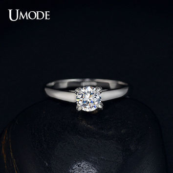 UMODE Plating Classic Uplifted 4 Prong Single Zirconia Anillos Mujer Wedding Ring for Women JR0137