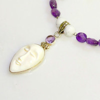 Amethyst and Moon Necklace - Hand Carved Moon Face Pendant with Purple Amethyst and Sterling Silver by Mei Faith