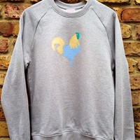 Cockerel Sweatshirt - low co2, Eco friendly, ethical, hand stencilled