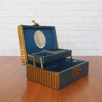 Art Deco Vintage Jewelry Box, Blue Faux Croc Leather with Brass Sides, Two Tier with Mirror