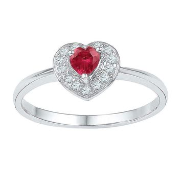 10kt White Gold Women's Round Lab-Created Ruby Heart Diamond-accent Ring 5/8 Cttw - FREE Shipping (US/CAN)
