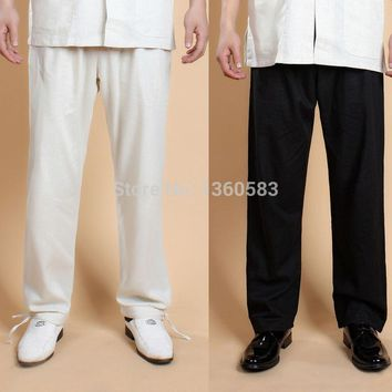 Beige&black Chinese Style Men's Linen Kung Fu Pants Martial Arts Trousers Spring Autumn Loose Pant Size S -XXXL free shipping