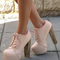 Pink lace up leather look ankle boot (Olsen) from Chockers Shoes