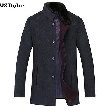 Casual Detachable Fur Collar Men Grey Overcoat Thick Warm