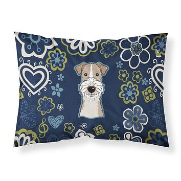 Blue Flowers Wire Haired Fox Terrier Fabric Standard Pillowcase BB5098PILLOWCASE