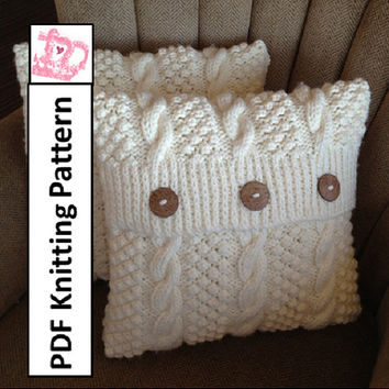 Blackberry Cables 16 x 16 pillow cover - PDF KNITTING PATTERN
