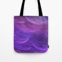 Pink and Purple Ultra Violet Soft Waves Tote Bag by bluedarkatlem