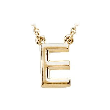 Block initial Necklace in 14k Yellow Gold, Letter E