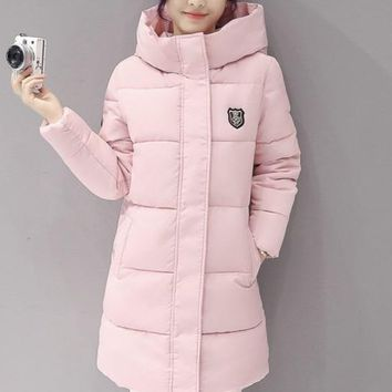 Women Warm Bubble detachable Hoodie long Winter Jacket