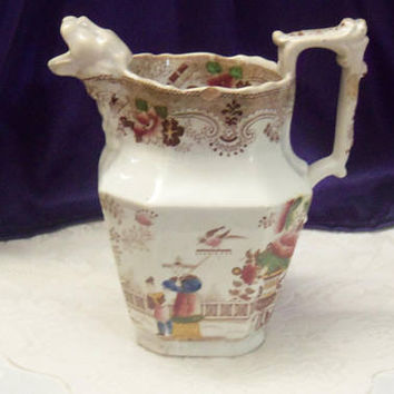 1840 'Lionhead Spout' Jug, Early Staffordshire Earthenware, Brown Transferware Sheet Victorian Milk Pitcher, Antique Chinoiserie