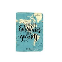 Create Adventures For Yourself World Map [Name Customized] Leather Passport Holder/Cover/Wallet_SCORPIOshop