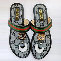 GUCCI Summer Popular Women Casual Flat Sandal Slippers Shoes