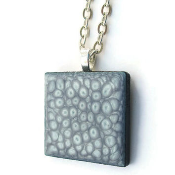 Silvery Pendant Necklace, hand painted wooden tile pendant with hints of lavender, tiny circles