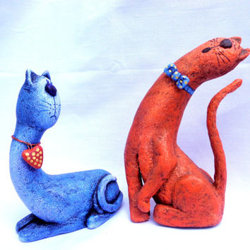 Sweet couple. Cats.  Paper mache doll