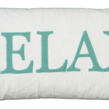 """Applique and Embroidered White Pillow Cover (11"""" x 21"""")"""