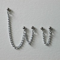 Cartilage Chain Earrings - Simple Double Piercing Chain - Custom Colors
