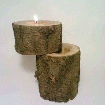 Proposal Ring Box, Ring Bearer Box, Jewelry Box, Rustic Log Tealight Candle Holder