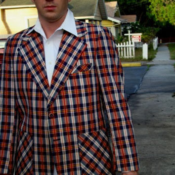 Vintage Blazer, Mens Blazer, Mens Sport Coat, Plaid Sport Coat, Seersucker Fabric. 70s Mens Fashion, Hipster Blazer, Summer Blazer,