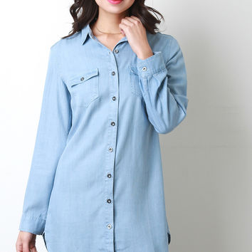 Shirt Tail Chambray Button Up Top