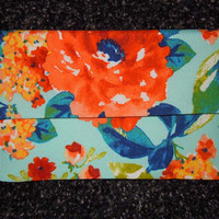 Floral envelope clutch, multicolored clutch, clutch purse, blue orange yellow peach, clutch bag, summer clutch, pouch, handbag, tote,