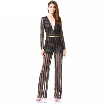 Flash Sequined Stripes Jumpsuits