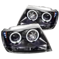 Jeep Grand Cherokee 99-04 Projector Headlights - LED Halo - LED ( Replaceable LEDs ) - Black - High H1 (Included) - Low 9006 (Not Included)