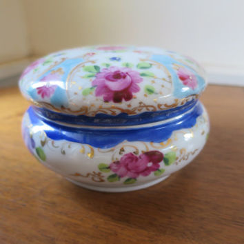 Antique Cobalt Porcelain Vanity Jar Blue White Flowers Dresser Powder Jar Gilt Trim Hand Painted  w/ Lid Jewelry Keepsake Trinket Box