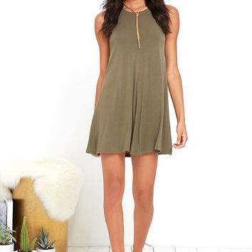 Going Far Olive Green Swing Dress