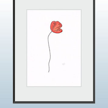 Poppy illustration. Minimalist wall art. Red flower watercolor and ink drawing. Abstract modern floral picture. A4.