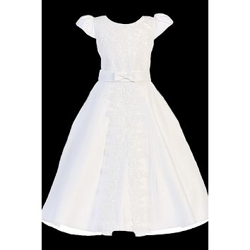 Lace Trim & Appliques Split Skirt Girls Plus Communion Dress 10x-20x