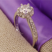 Glitter 1pc 18K White Gold Filled Dazzling Cubic Zirconia Party Finger Rings US SIZE 7-8-9 = 1932269508