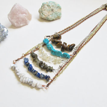 Gemstone Bar Necklace, Beaded Gemstone Necklace, Crystal Bar Necklace, Labradorite Bar Necklace, Turquoise Bar Necklace, Howlite Necklace