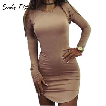Plus Size Women Clothing 2017 Long Sleeve Mini Bodycon Tunic Slim Party Sexy Clubwear Side Split Tshirt Bandage Dresses M0462