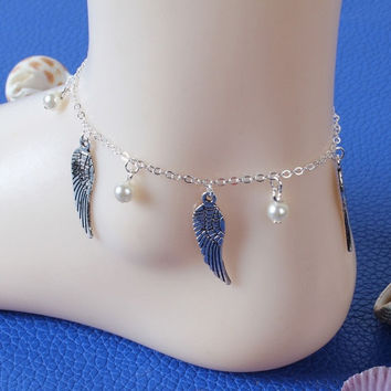 Hot Hot! Beach Angel Wing Pearl Bead Anklet Foot Chain Bracelet Women Jewelry BB = 5658245185