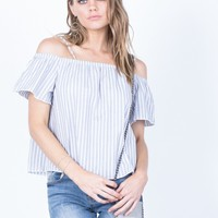 White Lines Striped Top