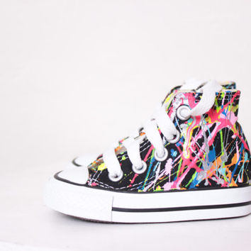 Baby Black High Top Splatter Painted Converse Sneakers Baby Size 3, Bright Lights Big City Colors