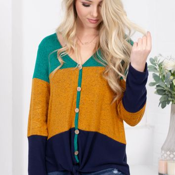 Golden Turtle Green Block Knot Top