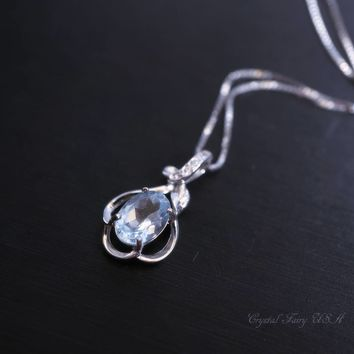 Sterling Silver Flower Dainty Aquamarine Necklace - Delicate CZ Necklace,  March Birthstone Solitaire Natural High Quality Aquamarine