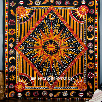 Large Hippie Celestial Tapestries, Sun Moon Tapestries, Tapestry Wall Hanging, Indian Boho Tapestry, Bohemian Wall Tapestries, Dorm Bedding