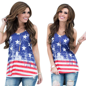 2016 NEW Summer Sexy Women Sleeveless Tops American USA Flag Print Stripes Tank Top for Woman Blouse Vest Shirt Free Shipping