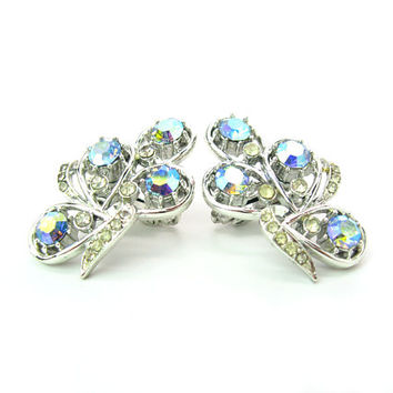 Ear Climber Rhinestone Earrings Aurora Borealis AB Ice Crystals Coro Made in England Large Silver Tone Vintage 1950s Fashion Jewelry