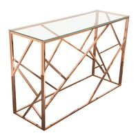 Nest Rectangular Console Table Rose Gold Finish