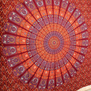 Twin hippie mandala tapestry,indian wall hanging,block print bedspread bed cover,bohemian ethnic tapestry,wall decor tapestry,gypsy tapestry