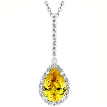 Lorine Canary Pear Halo Pendant Necklace | 7ct