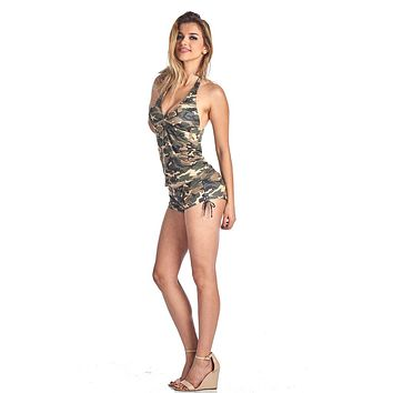 Women's Camo Bikini Tankini & Shorts 2-Piece Swimwear: