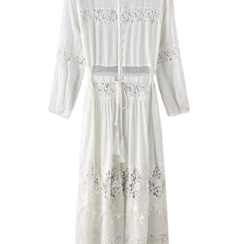 White Crochet Lace Sheer Insert Tie Waist  Maxi Dress