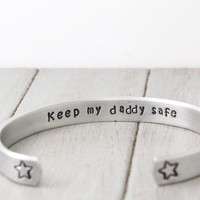 Bracelet for Kids, Childs Bracelet, Adjustable Bracelet for Girls, Keep My Daddy Safe Cuff, Secret Message Cuff, Personalized Jewelry,